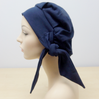 Navy Modern Beret - side view (worn without the loose patterned scarf)