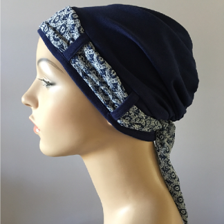 Navy turban with Navy and White scarf - side view