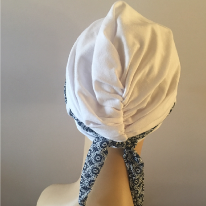 White turban with scarf - back view
