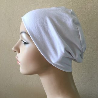 White Sleep Cap - side view