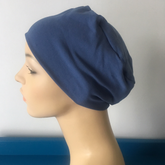 Denim blue sleep cap