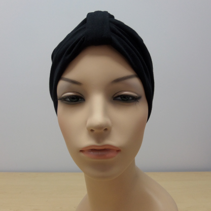 Black Classic Turban - front view