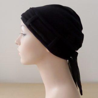 BlackTurban with plain black scarf - side view
