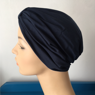 Navy Classic Turban - side view