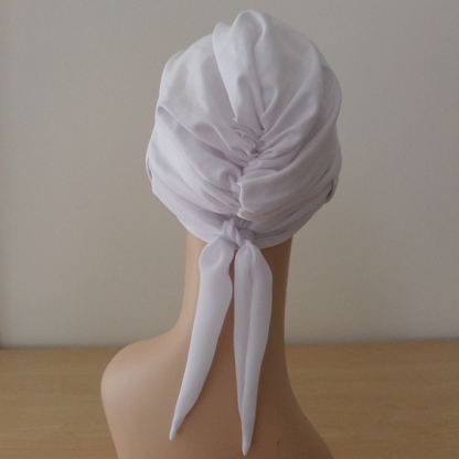 WhiteTurban with plain White scarf - back view