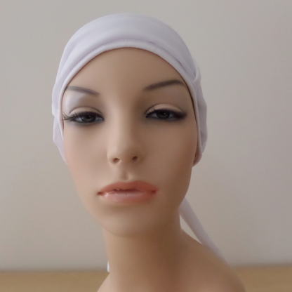 WhiteTurban with plain White scarf - front view