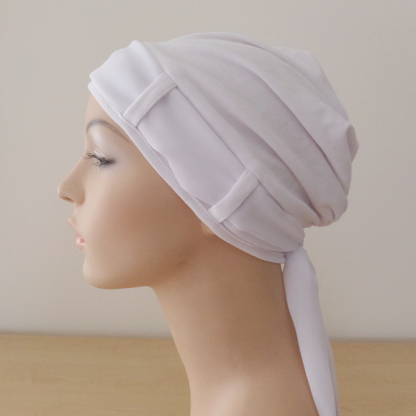 WhiteTurban with plain White scarf - side view
