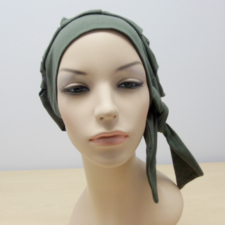 Olive Modern Beret - left side view (worn without the loose scarf)