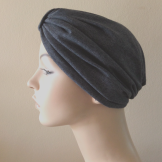 Charcoal Classic Turban - side view