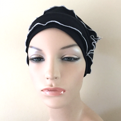 Black-and-White Inside-Out Beanie - front view