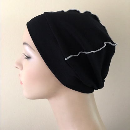 Black-and-White Inside-Out Beanie - side view - NO BAND