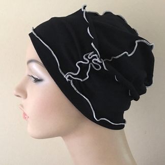 Black-and-White Inside-Out Beanie - side view - WITH BAND