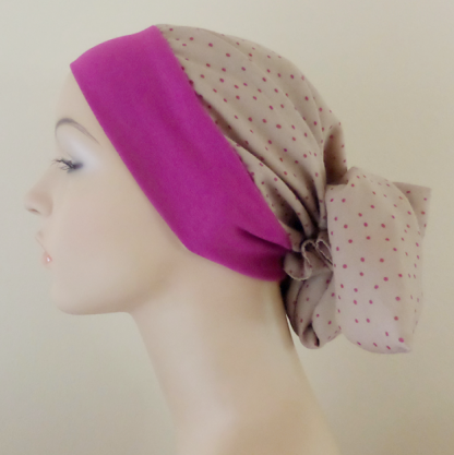 Printed cotton Gypsy Headscarf - Magenta and Taupe