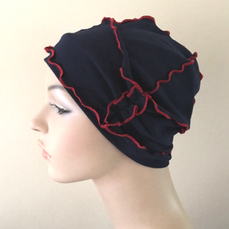 Navy-and-Red Inside-Out Beanie - side view