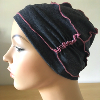 Charcoal-and-Pink nside-Out Beanie - side view