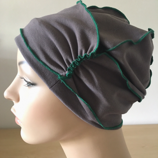 Mink-and-Emerald Inside-Out Beanie - side view