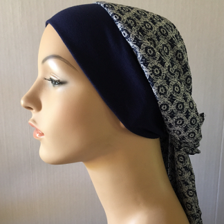 Navy and White Fitted Headscarf - side view