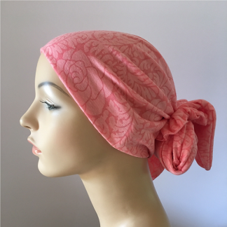 Cotton Knit Gypsy Headscarf - Coral