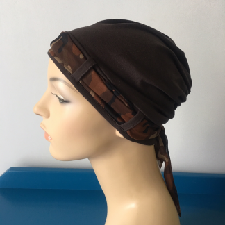 Chocolate Brown Turban with Camo scarf