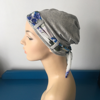 Light Grey Turban with Summer Floral Scarf