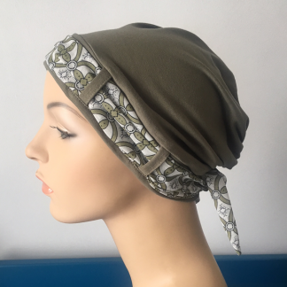 Herb Turban with Geometric pattern scarf