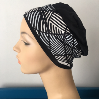 Black Sleep Cap with Ivory, Black and Blue removable headband