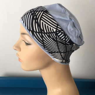 Blue Sleep Cap with Ivory, Black and Blue removable headband