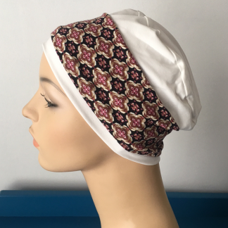 Ivory Sleep Cap with Moroccan Tile print removable headband