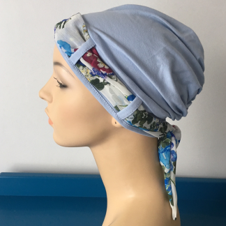 Blue Turban with Summer Floral scarf
