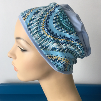 Blue Sleep Cap with Wave pattern removable headband