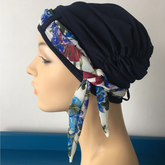 Navy Turban with Summer Floral scarf