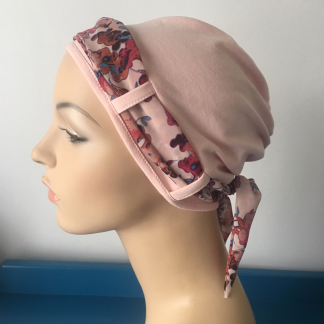 Blossom Turban with Cranberry Floral Scarf