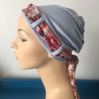 Blue Turban with Cranberry Floral Scarf