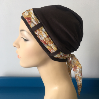 Chocolate Brown Turban with Autumn Floral scarf