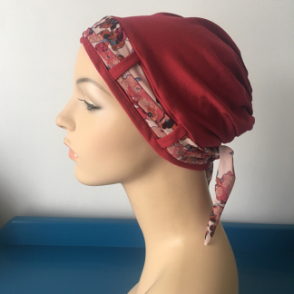 Cranberry Turban with Cranberry Floral Scarf