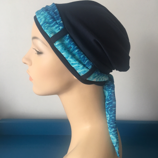 Navy Turban with Turquoise scarf