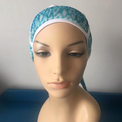 White Turban with Turquoise scarf