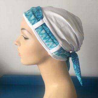White Turban with Turquoise scarf