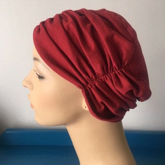 Cranberry Pleated Beanie