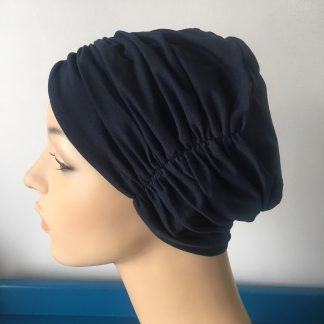Navy Pleated Beanie