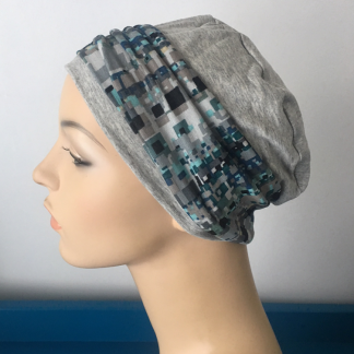 Light Grey Sleep Cap with Mint and Blue Abstract print headband
