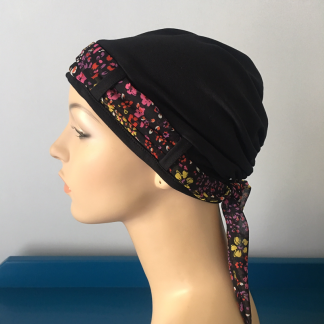 Landa Turban with Scarf – Black with Bright Fine Floral scarf-0
