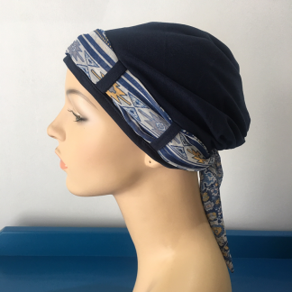 Landa Turban with Scarf – Navy with Tribal print scarf-0