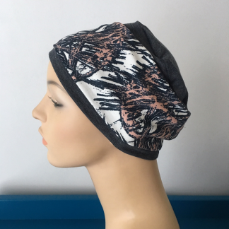 Charcoal Sleep Cap with Pink and Charcoal Abstract print removable Headband