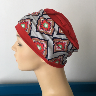 Red sleep cap with Grey and Red Diamond print removable headband