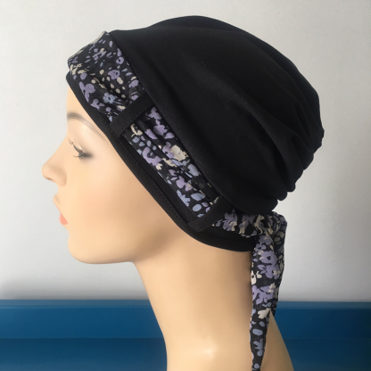 Black Turban with Purple and Blue Floral scarf. Hat for cancer patient. Cancer headwear. Chemo headwear. Chemo cap. Chemo hat.