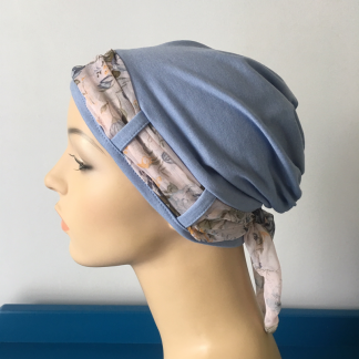 Blue Turban with Vintage scarf