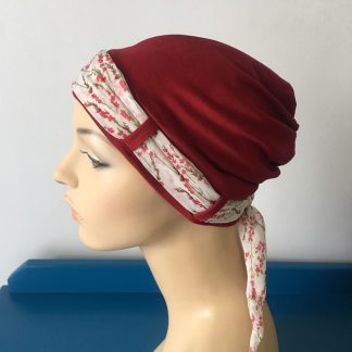 Cranberry Landa Turban with Twigs scarf
