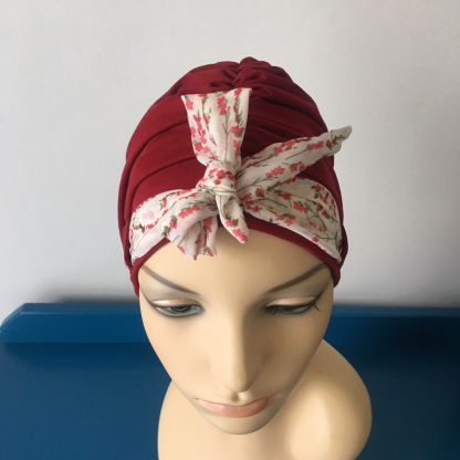 Cranberry Landa Turban with Twigs scarf