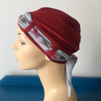 Cranberry Landa Turban with watercolour scarf